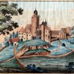 Historische Ansicht von Burg Posterstein im 18. Jahrhundert (Aquarell, Museum Burg Posterstein)
