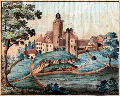 Es gab viele Veränderungen im Lauf der Geschichte der Burg Posterstein: Historische Ansicht von Burg Posterstein im 18. Jahrhundert (Aquarell, Museum Burg Posterstein)
