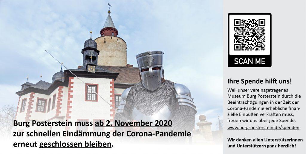 Banner Burg Posterstein ab 2. November 2020 vorübergehnd geschlossen - wir freuen uns über Ihre Spende
