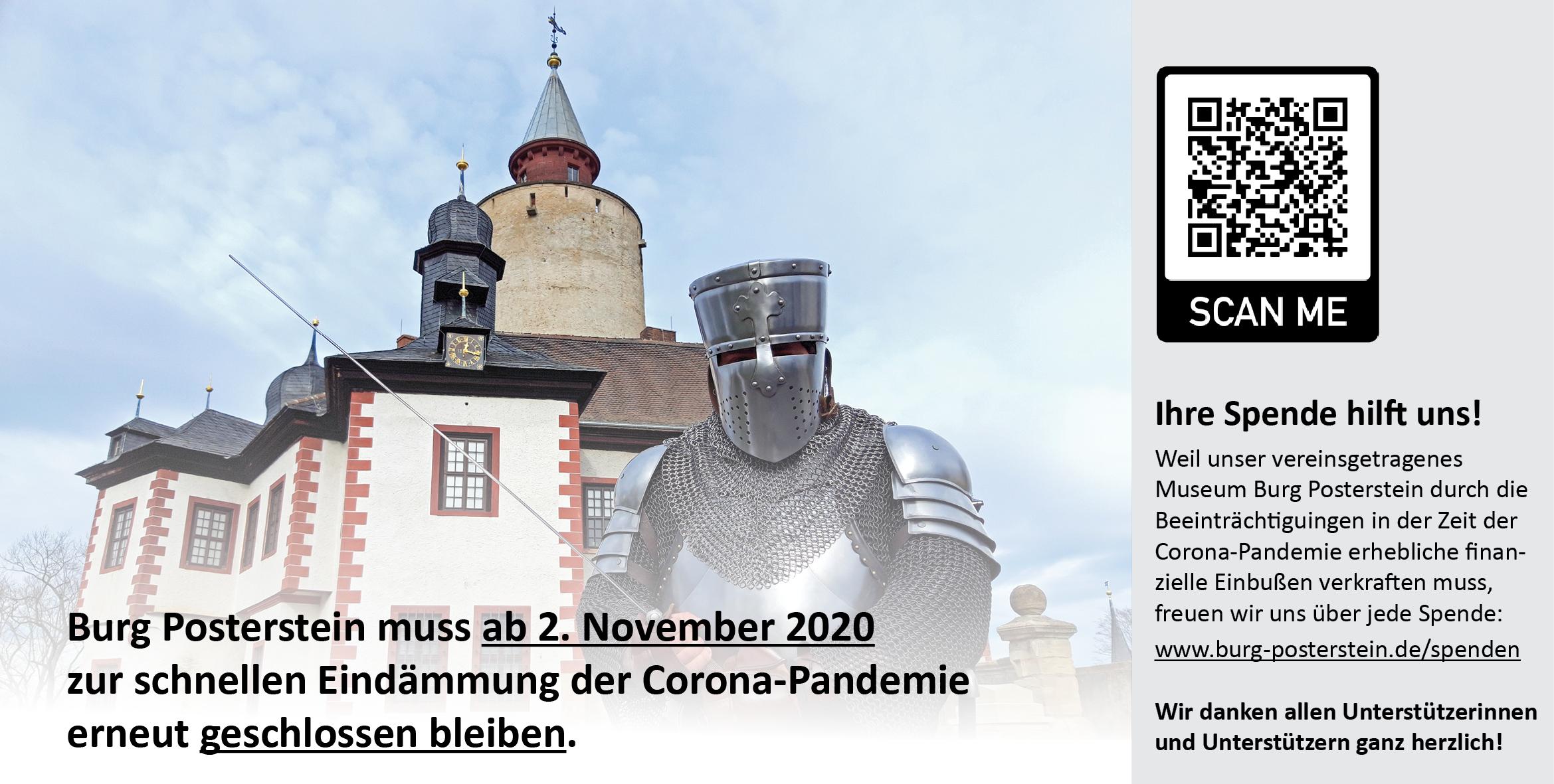 Banner - Burg Posterstein ab 2. November 2020 vorübergehend geschlossen - wir freuen uns über Ihre Spende