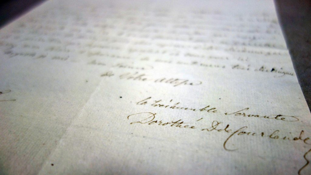 Handschrift: Im Fokus die Unterschrift Dorotheas von Kurlands
