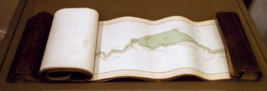 Flußkarte aus dem Jahr 1789 aus der Sammlung des Museums Burg Posterstein