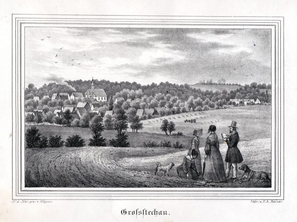 """Großstechau im Altenburger Land - Historische Ansicht aus der """"Kirchengalerie"""" - Sammlung Museum Burg Posterstein"""