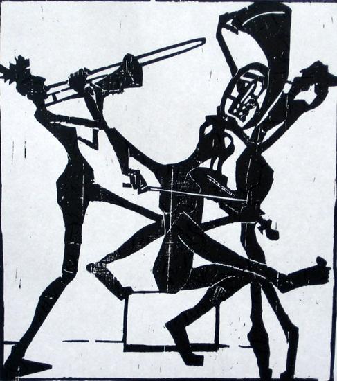 Peter Zaumseil: Damentrio - Holzschnitt, 32,5 x 28,5 cm, Jahr 2008