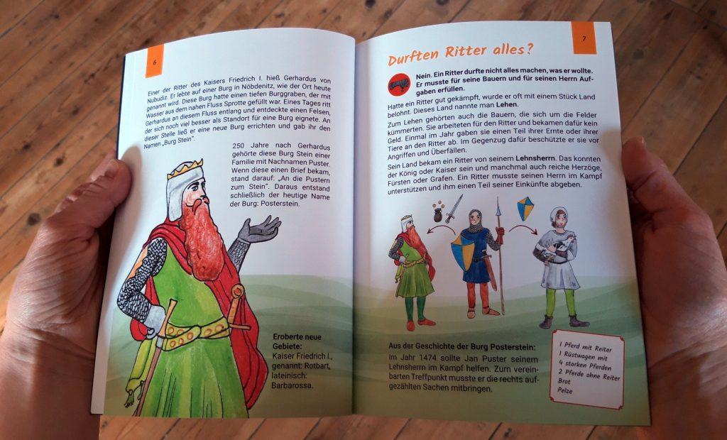 """Blick ins Kinderbuch """"Ritter und Burgdamen ganz privat! - 10 Fragen & Antworten zum Alltag auf Burgen im Mittelalter"""", Museums Burg Posterstein, 2021"""