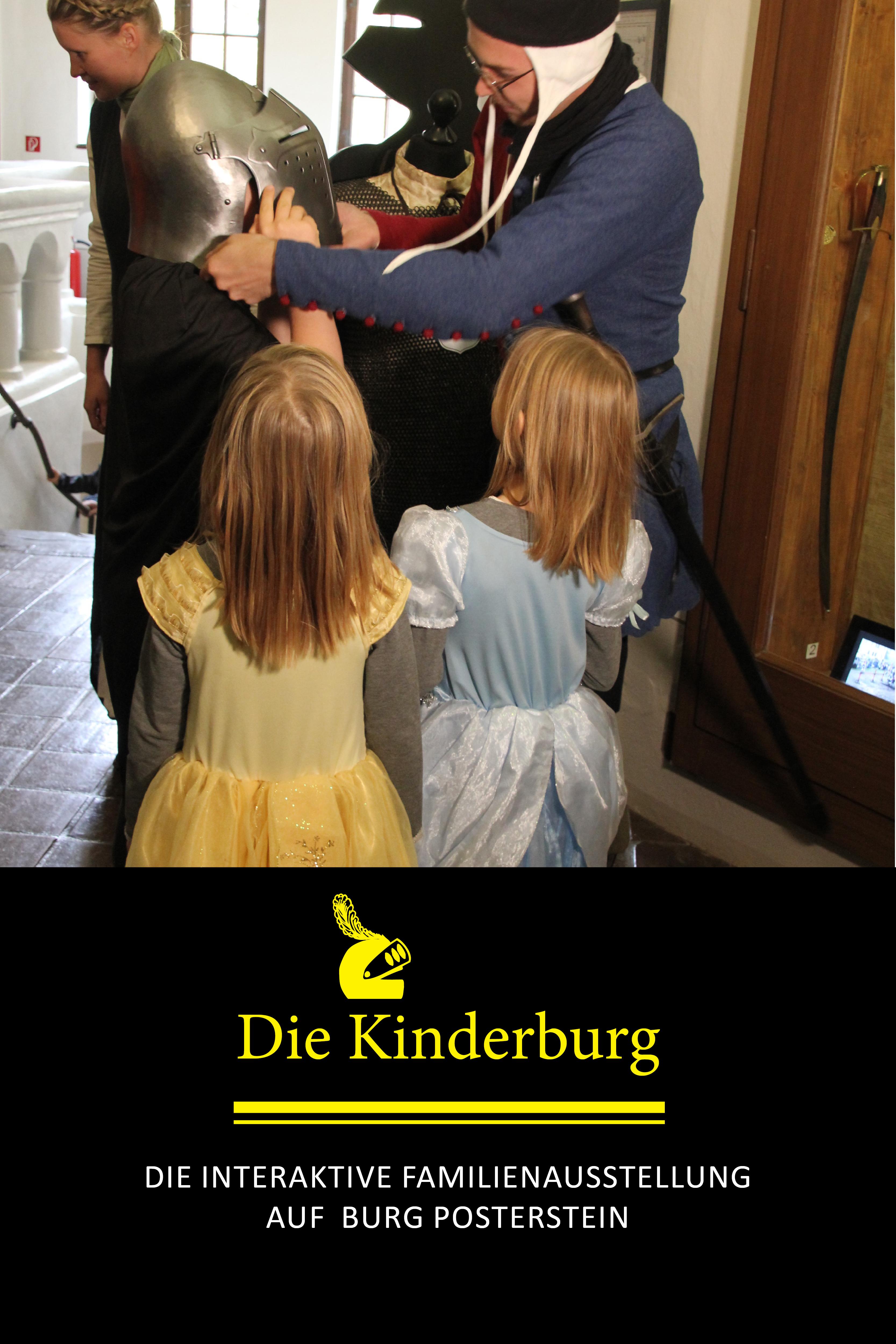 Die Ausrüstung eines Ritters anfassen - das kann man in der Familienausstellung Die Kinderburg auf Burg Postertsein.