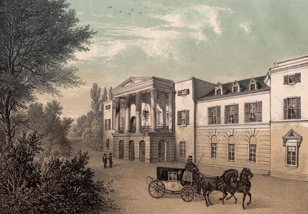 Eine Kutsche hält vor Schloss Löbichau, das der Herzogin von Kurland gehörte.