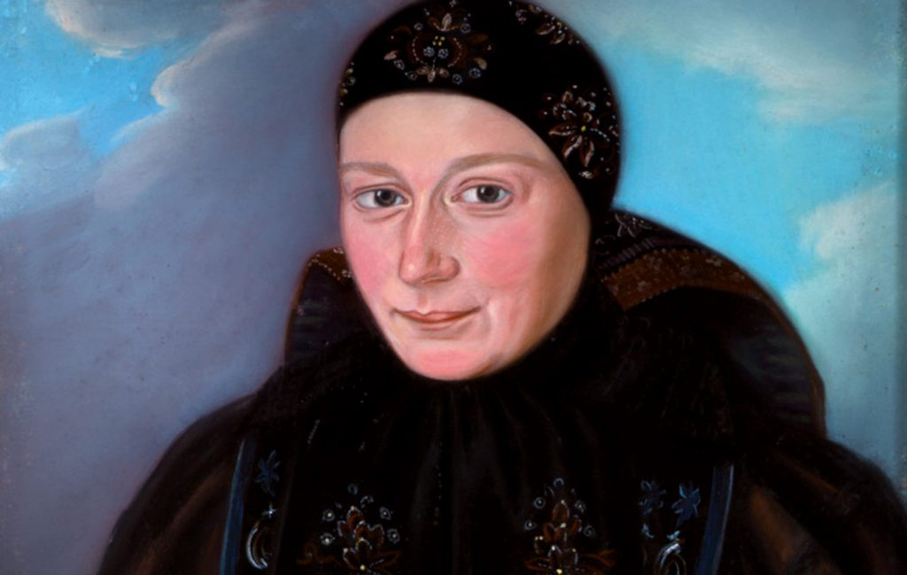 Portrait einer Altenburger Bäuerin in Tracht - Ausschnitt eines Pastells von Friedrich Mascher (Sammlung Museum Burg Posterstein)