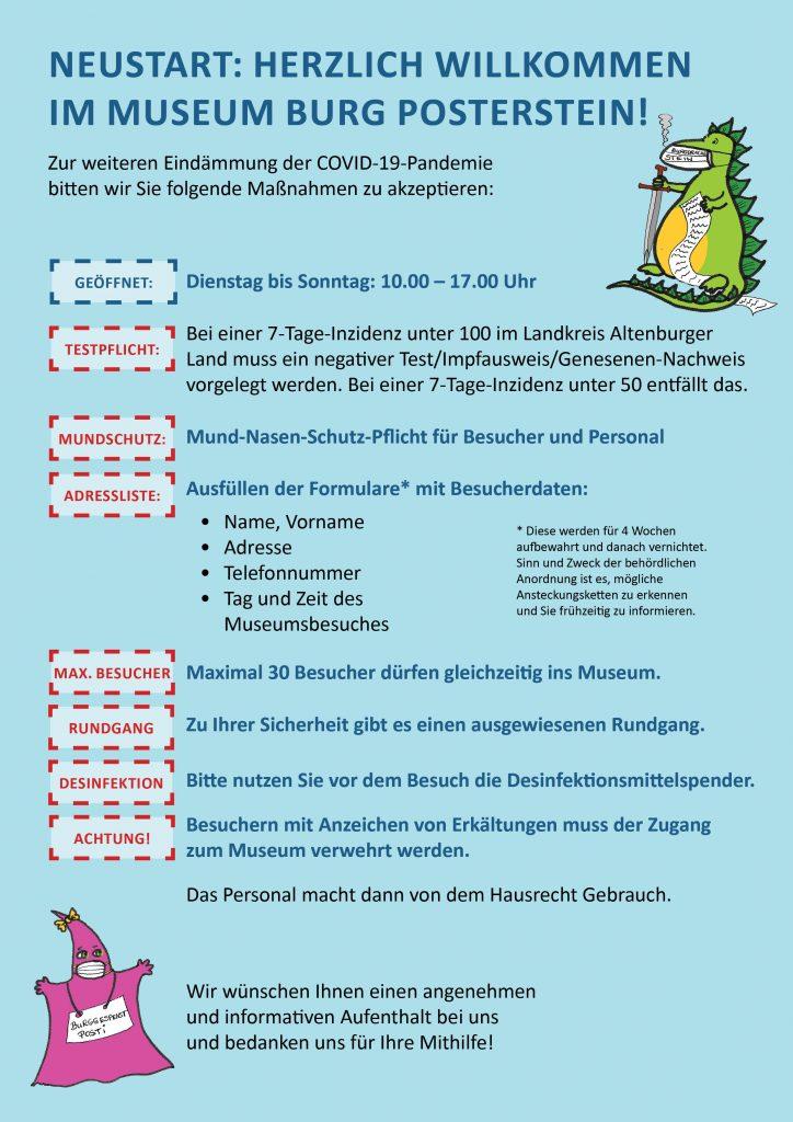Aktuelle Hygiene-Vorschriften für den Besuch im Museum Burg Posterstein