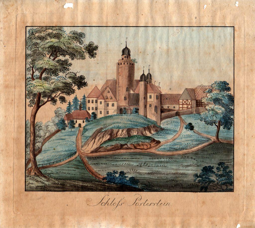 Burg Posterstein auf einem Aquarell aus dem 18. Jahrhundert (Sammlung Museum Burg Posterstein)