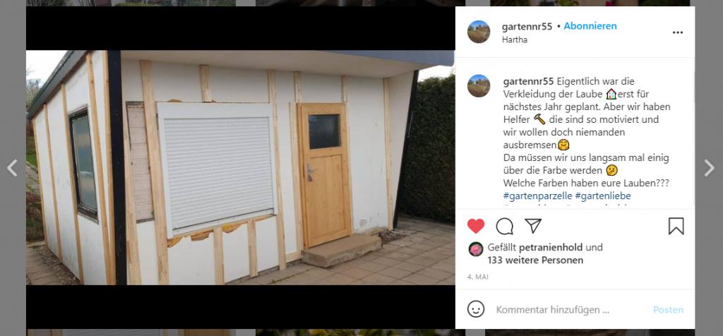 Tägliche Updates aus dem Schrebergarten teilt @gartennr55 auf Instagram