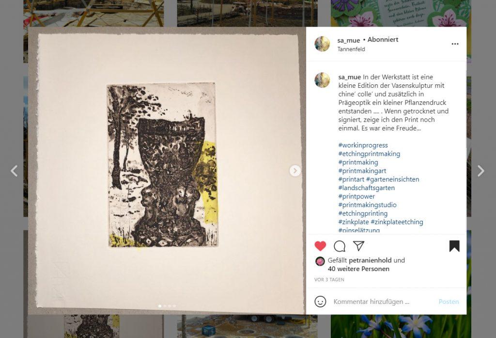 Screenshot vom #GartenEinsichten Instagram-Post der Künstlerin Sabine Müller