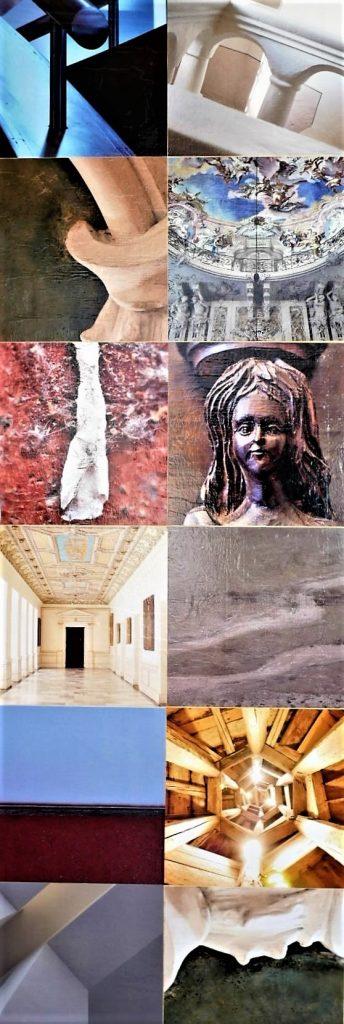 """Die Fotografien auf Seite 1 der Skulptur """"Postersteiner Stele"""" von Wolfgang Stöcker"""