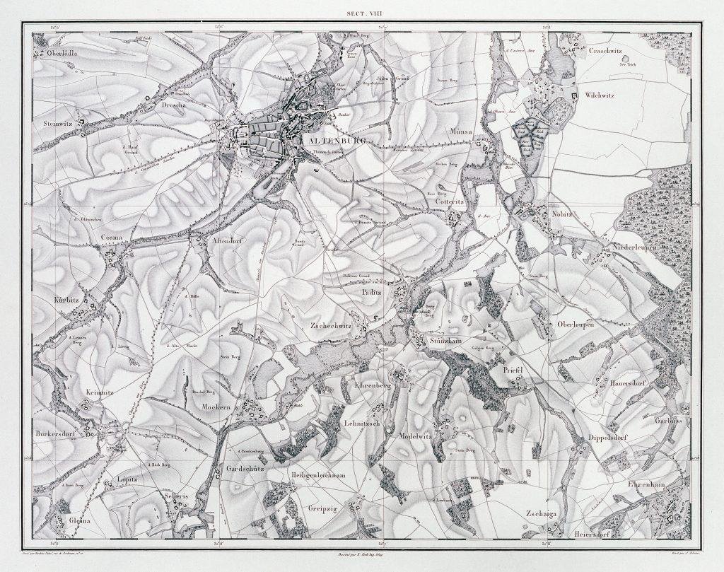Kartenwerk Hans Wilhelm von Thümmel Sektion VIII Altenburg aus der Sammlung des Museums Burg Posterstein