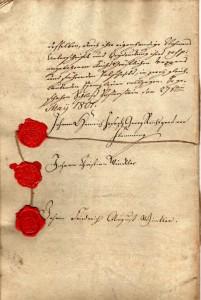 Urkunde Pachtvertrag Flemming - Winckler 1801 (Museum Burg Posterstein)