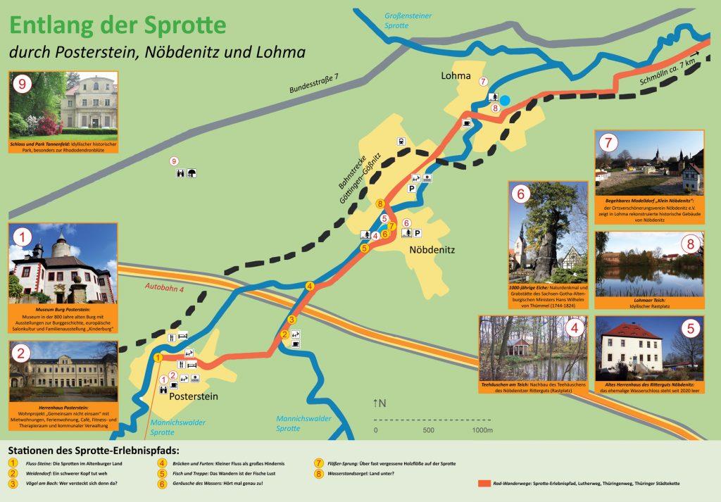 Wanderkarte Sprotte-Erlebnispfad zwischen Lohma und Posterstein