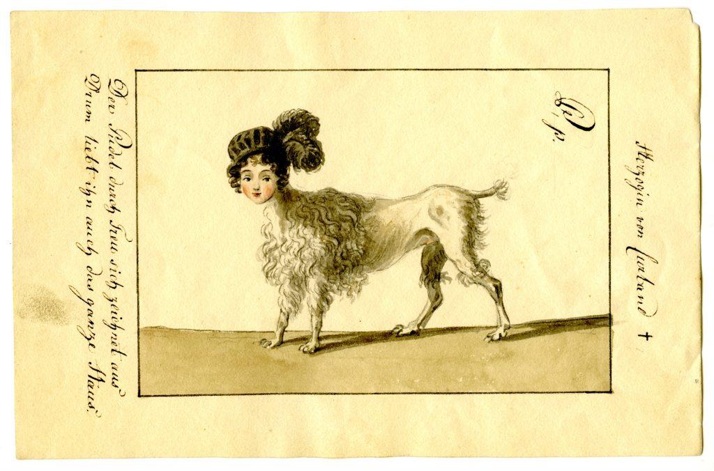 """Ernst Welkers Darstellung der Herzogin von Kurland als """"treuer Pudel"""" (Sammlung Museum Burg Posterstein)"""