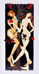 Peter Zaumseil - Holzschnitt -Adam und Eva nach L. Cranach 2020 - Kunstausstellung auf Burg Posterstein